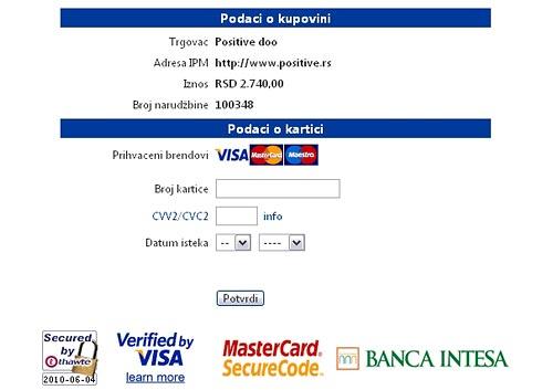 Unos podataka za plaćanje